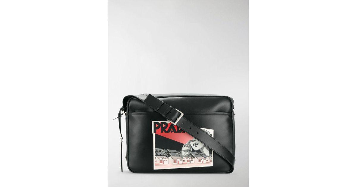 41d9b68a497f03 Prada Comic Logo-print Shoulder Bag in Black for Men - Lyst