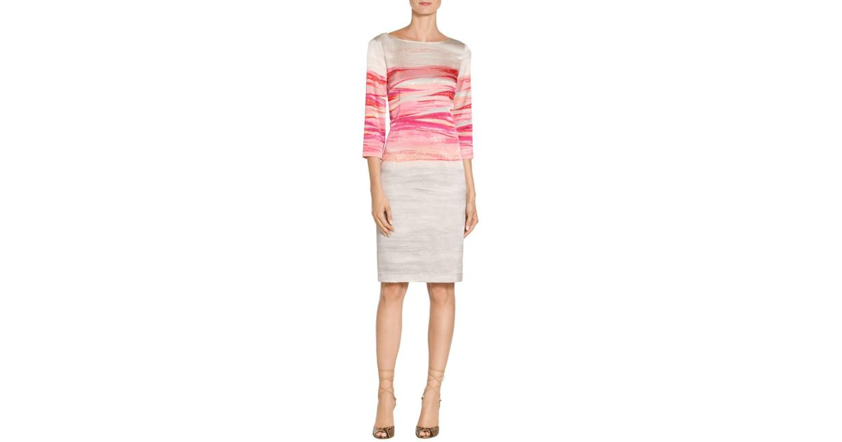 6e90b226898c8 St. John Sale Exclusive Textured Brush Stroke Print Stretch Silk Charmeuse  Dress in Pink - Lyst
