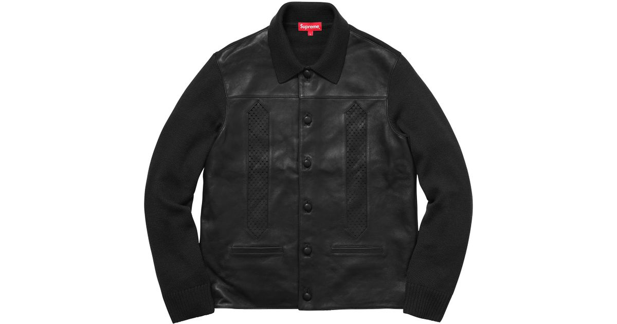 b76fab978 Supreme Leather Front Polo Sweater Black in Black for Men - Lyst
