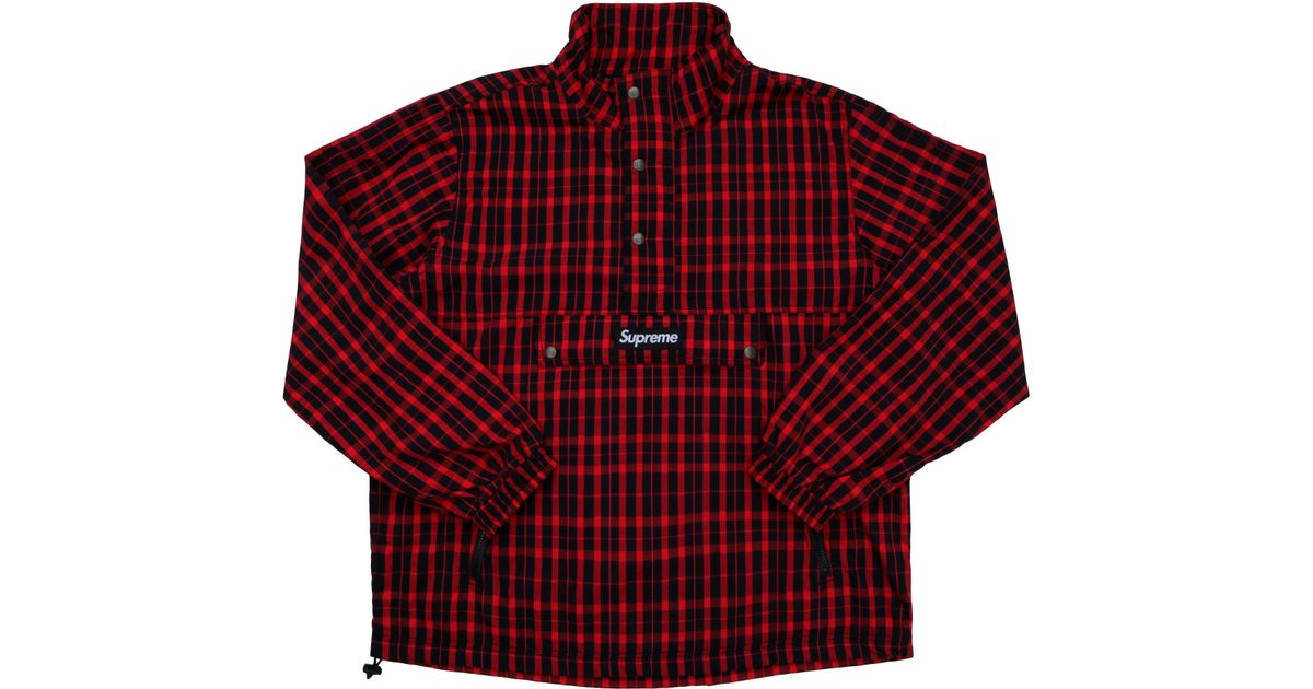 fb34c5bd Supreme Nylon Plaid Pullover Red in Red for Men - Lyst