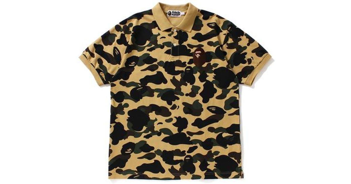 798d42480035 Lyst - A Bathing Ape 1st Camo Large Ape Head Polo Yellow in Yellow for Men