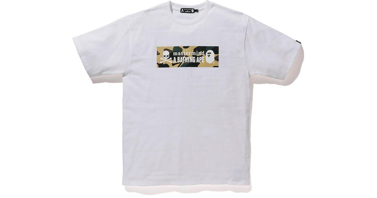 d1f1a5e2f A Bathing Ape X Mastermind Japan Camo Logo Tee White/yellow in White for  Men - Lyst