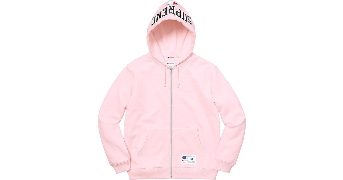 Lyst - Supreme Champion Arc Logo Zip Up Sweat Light Pink in Pink for Men 5daeafedf