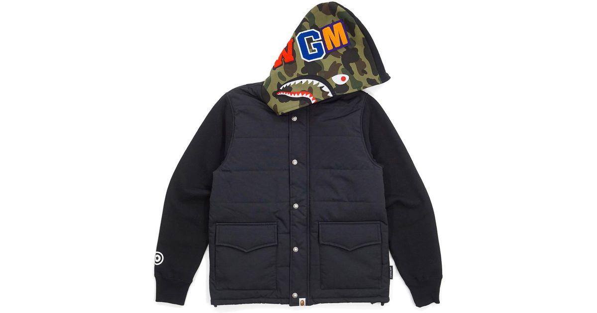 1aa39230 A Bathing Ape 1st Camo Hood Wgm Wappen Down Vest Hoodie Shark Black/green  in Black for Men - Lyst