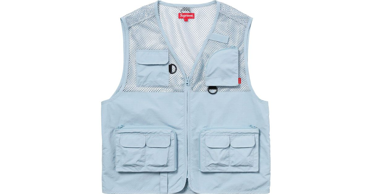 813c6daa Supreme Mesh Cargo Vest Light Blue in Blue for Men - Lyst
