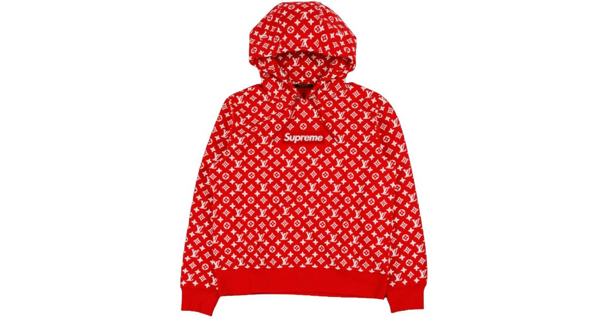 11ca0ff6767b Supreme X Louis Vuitton Box Logo Hooded Sweatshirt Red in Red for Men - Lyst