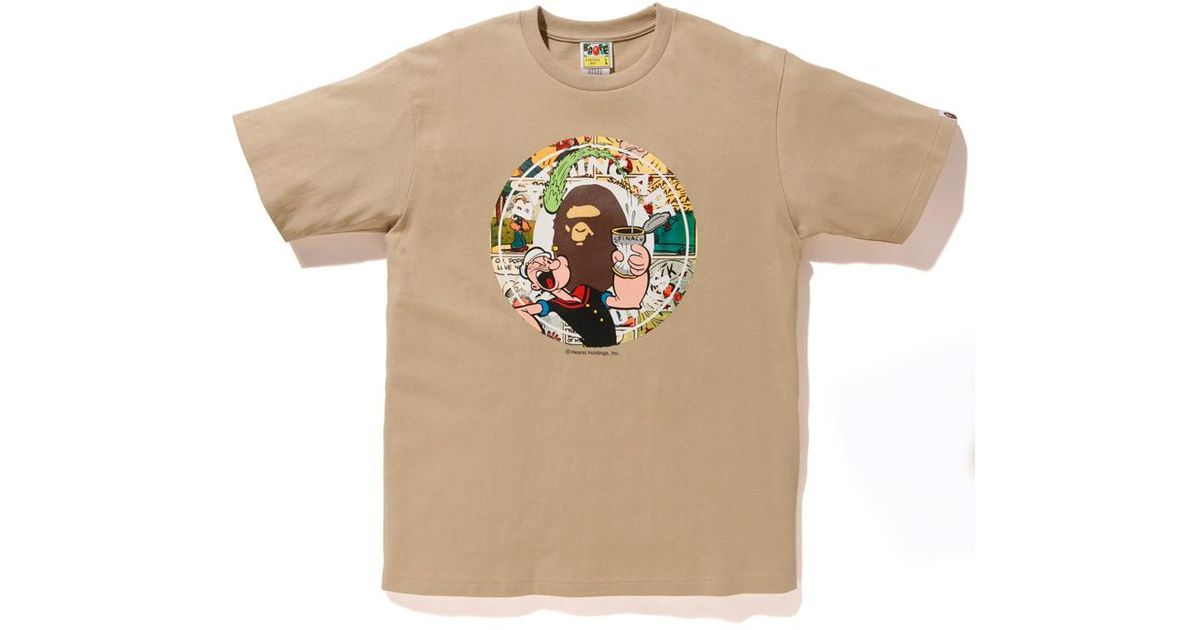 7df365bd Lyst - A Bathing Ape X Popeye Comic Bws Tee Beige in Natural for Men