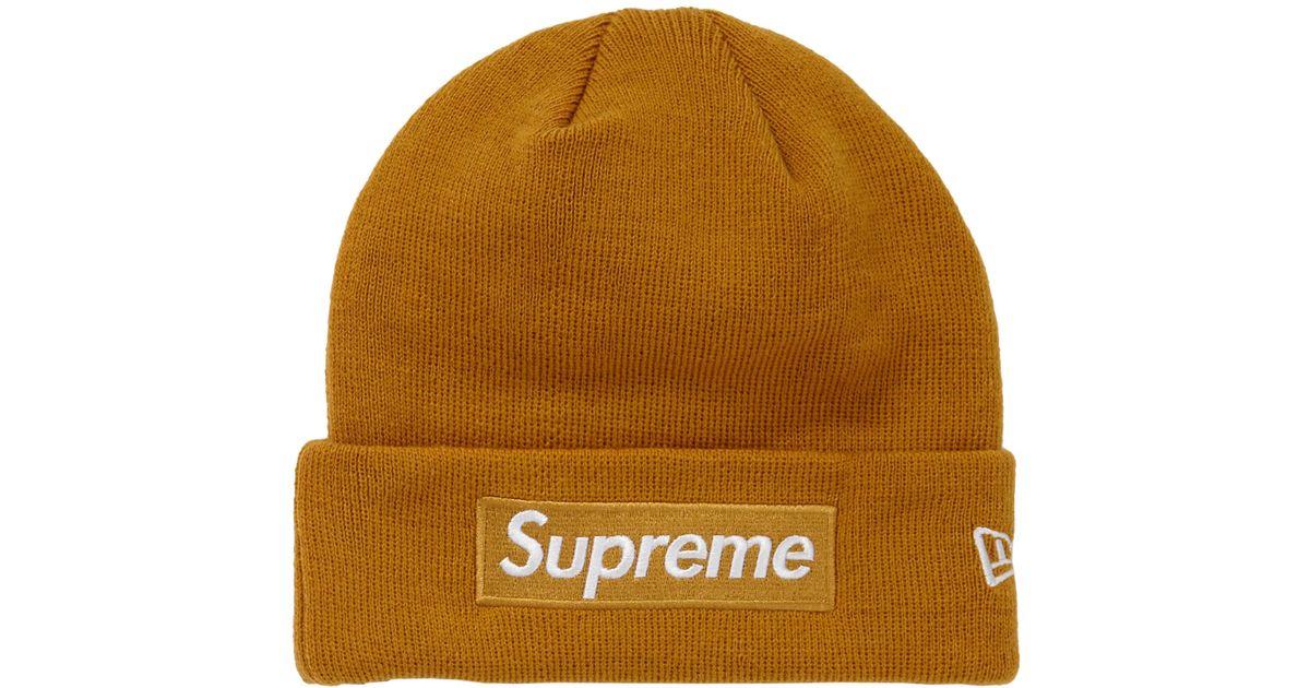 30fda2bd Supreme New Era Box Logo Beanie (fw18) Mustard in Brown for Men - Save 5% -  Lyst