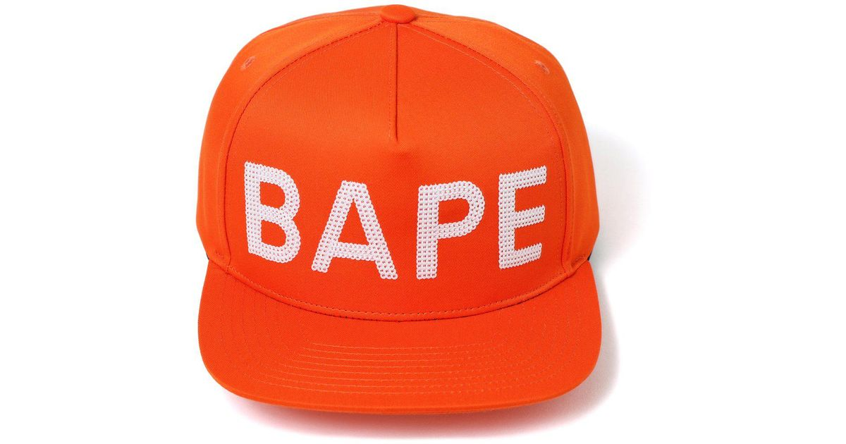 a98a3c46ab4 Lyst - A Bathing Ape Sequin Snap Back Cap Orange in Orange for Men