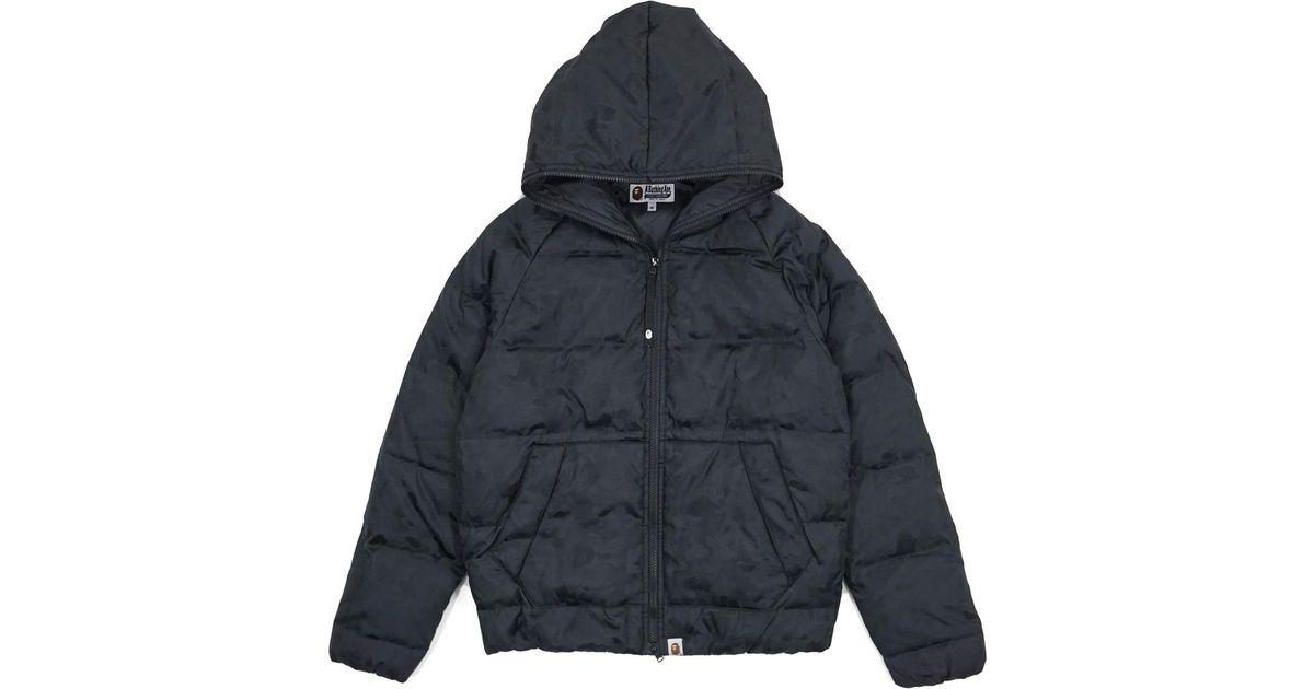 30a59f11f82a Lyst - A Bathing Ape Jacquard Camo Full Zip Nylon Down Jacket Black in Black  for Men