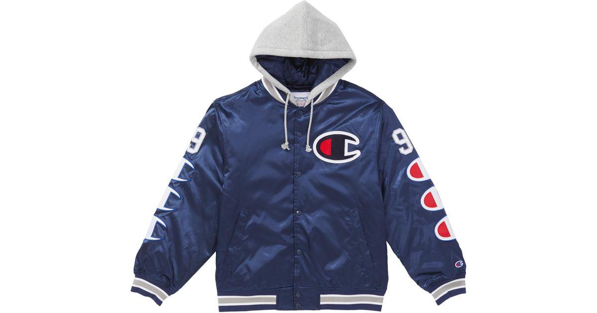 b00ac4fe Supreme Champion Hooded Satin Varsity Jacket Navy in Blue for Men - Lyst