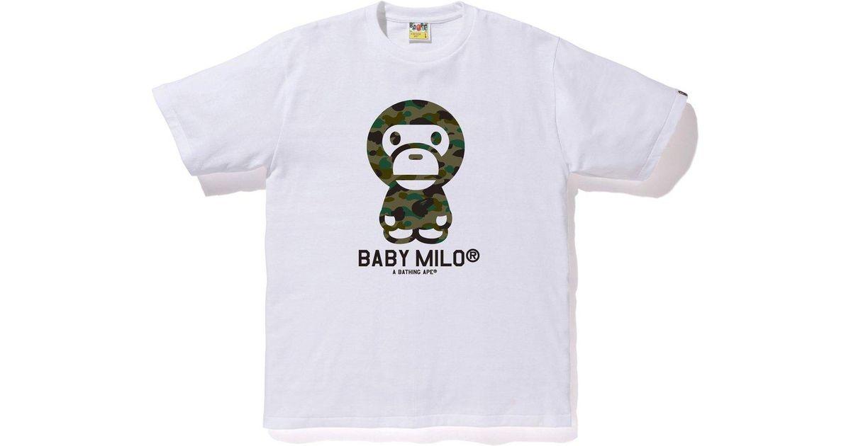 d7b21677 Lyst - A Bathing Ape 1st Camo Baby Milo Tee White/green in White for Men