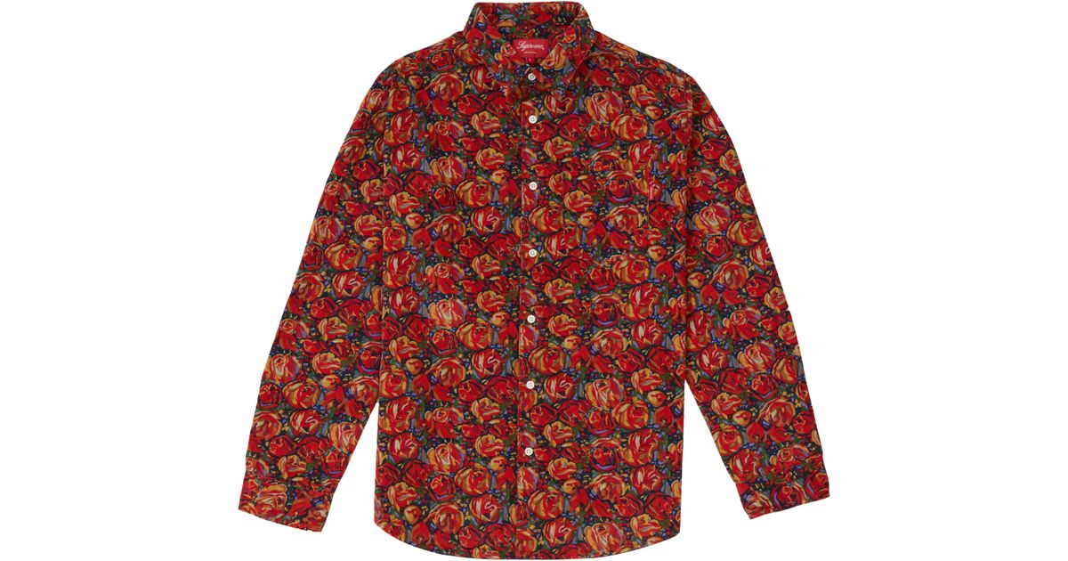 3b44694e Supreme Roses Corduroy Shirt Red in Red for Men - Lyst