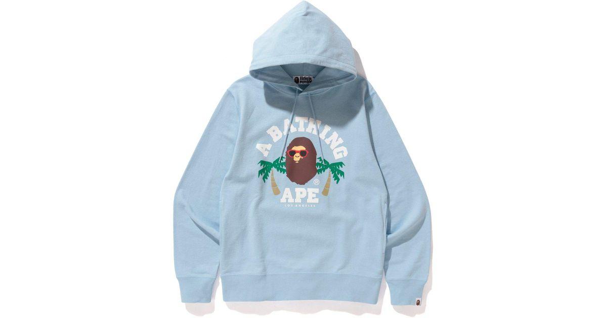 8001b26cd30c Lyst - A Bathing Ape La College Pullover Hoodie Sax in Blue for Men