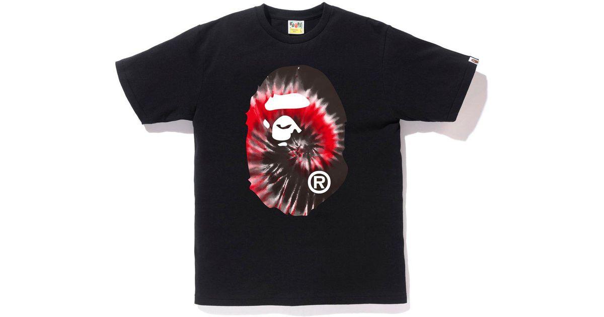 a6cac7d1d587 Lyst - A Bathing Ape Tie Dye Big Ape Head Tee Black red in Black for Men