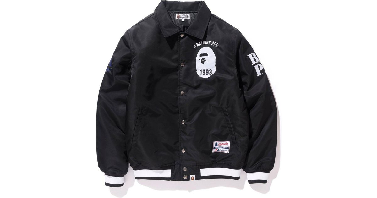 ff2d1753 A Bathing Ape Majestic Satin Varsity Jacket Jacket Black in Black for Men -  Lyst