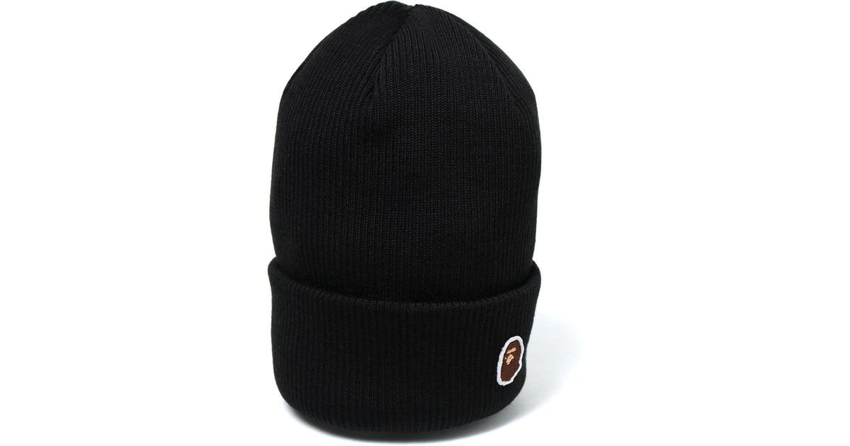 c66107da50478 Lyst - A Bathing Ape Ape Head One Point Knit Cap Black in Black for Men