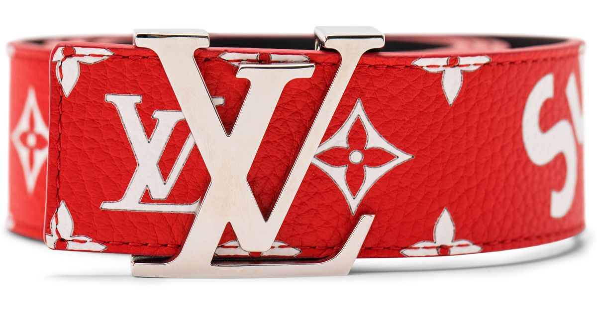 752374c8e3b5 Lyst - Supreme Louis Vuitton X Initiales Belt 40 Mm Monogram Red in Red for  Men