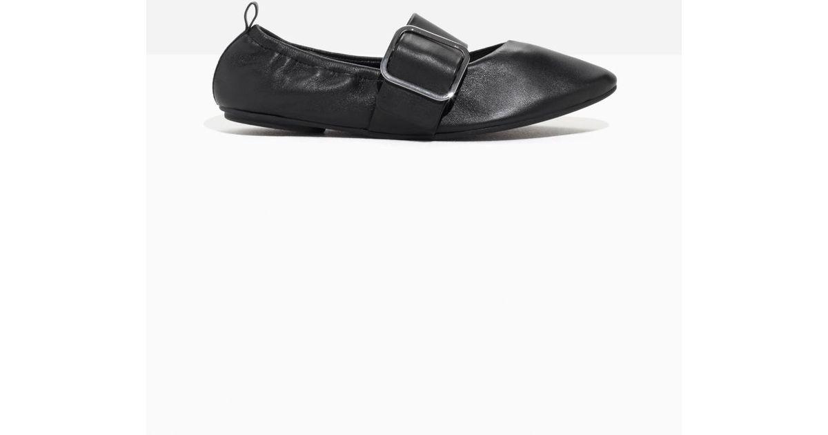 Women's Black Buckled Leather Ballet Flat