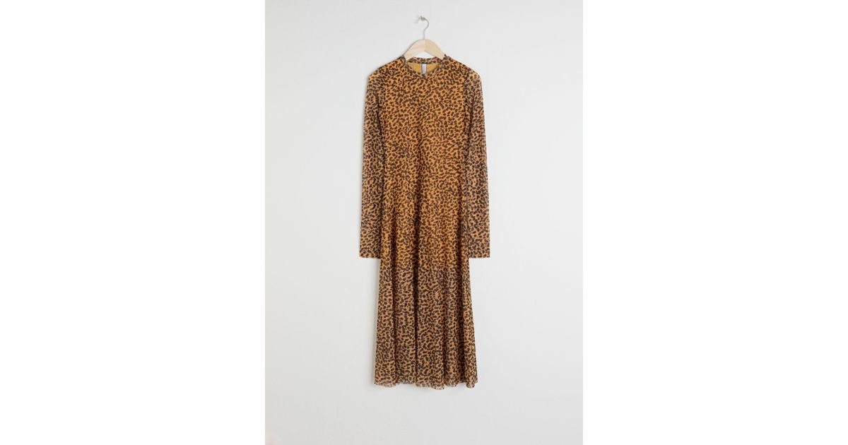 Other Stories Sheer Leopard Midi Dress in Orange - Lyst fe0d945ba