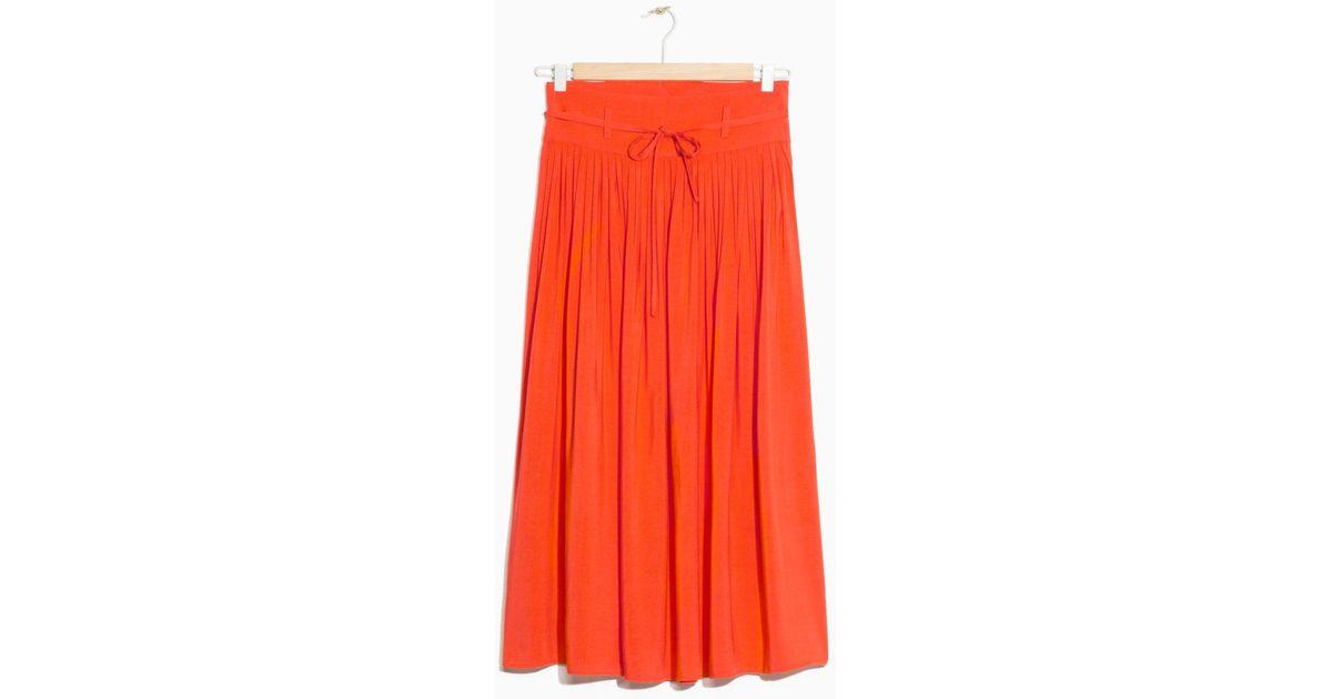 7870f55ef62 Lyst -   Other Stories High Waist Pleated Skirt in Orange