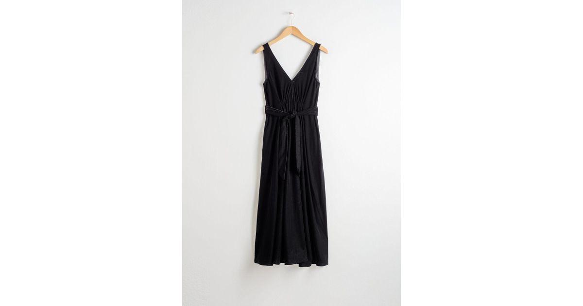 74867099f8cf & Other Stories Belted Velvet Midi Dress in Black - Lyst