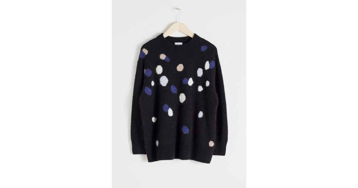 Other Stories Oversized Dotted Black Sweater In Lystamp; n0PwkO8