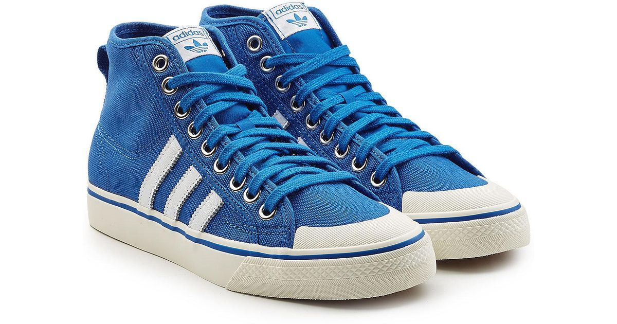 cheap for discount 1c34a 58350 adidas Originals High-top Canvas Sneakers With Leather in Blue for Men -  Lyst