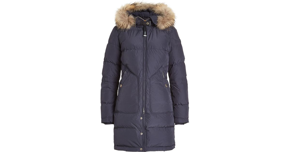 Lyst - Parajumpers Light Long Bear Down Parka With Fur-trimmed Hood in Blue