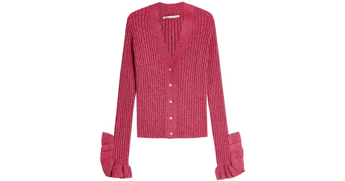 2f5b9a3b0605 Lyst - Marco De Vincenzo Knit Cardigan With Metallic Thread And Ruffles