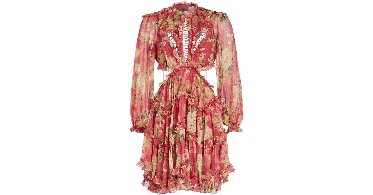 ce45a0f0ce36f Zimmermann Melody Lace Up Silk Chiffon Mini Dress in Red - Lyst