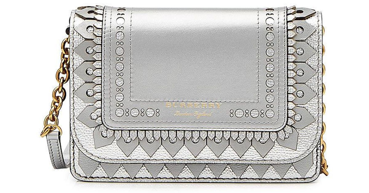 eec652ed5815 Burberry Hampshire Metallic Leather Wallet With Detachable Strap - Lyst