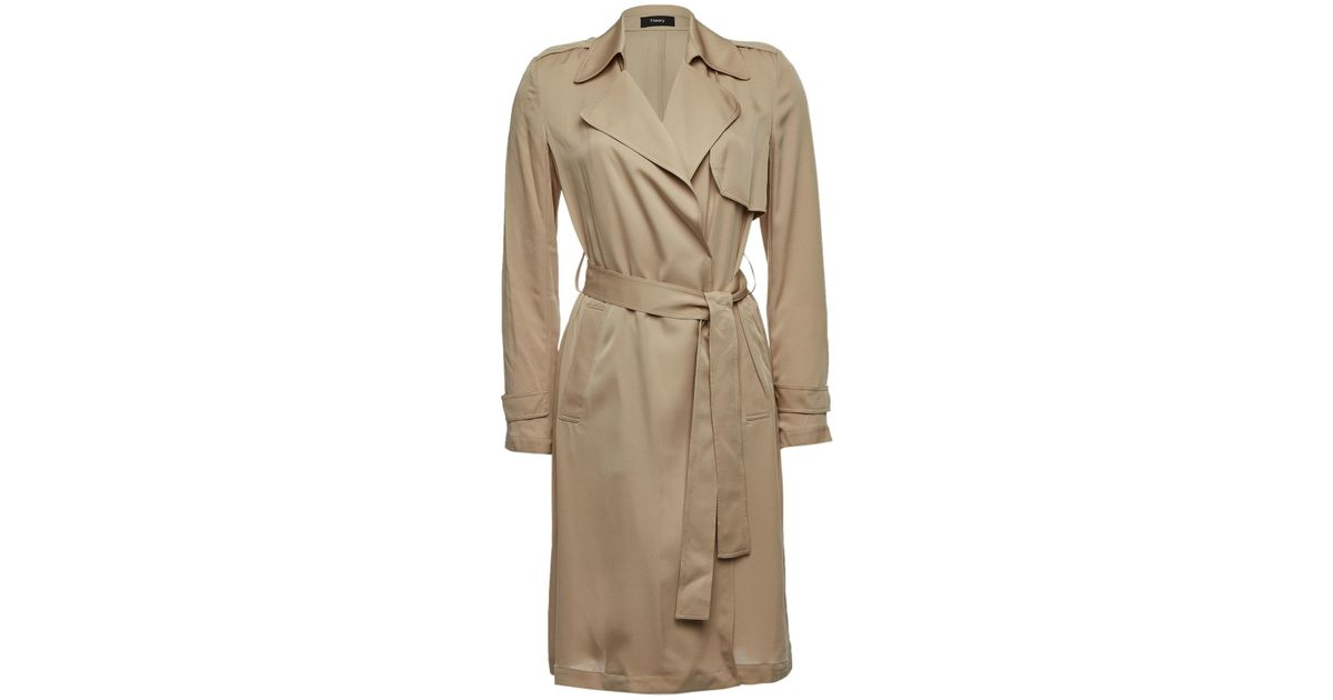 7fb88d5da7 Theory Oaklane Silk Trench Coat in Natural - Lyst