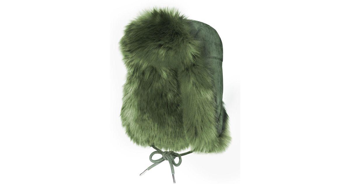 4e8c1f93994 Lyst - Charlotte Simone Helmet Khaki Faux Fur Hat in Green - Save 69%