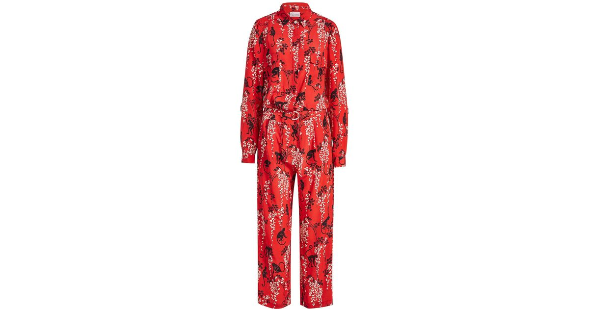 feeb797102 RED Valentino Floral Print Jumpsuit in Red - Lyst