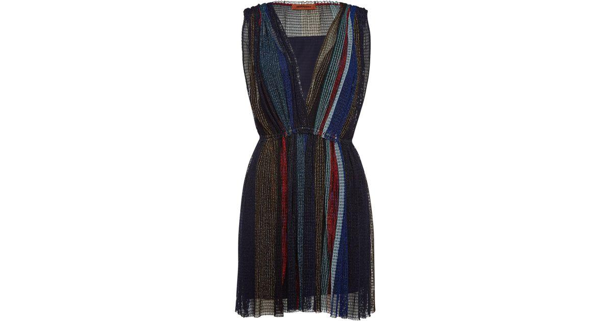 ac5518b685dc2 Lyst - Missoni V-neck Dress With Metallic Thread in Blue