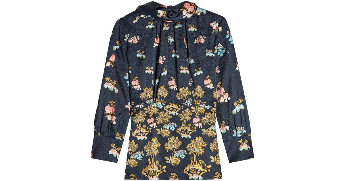 94f62c6f2f923 Lyst - Peter Pilotto Printed Silk High Neck Blouse in Blue