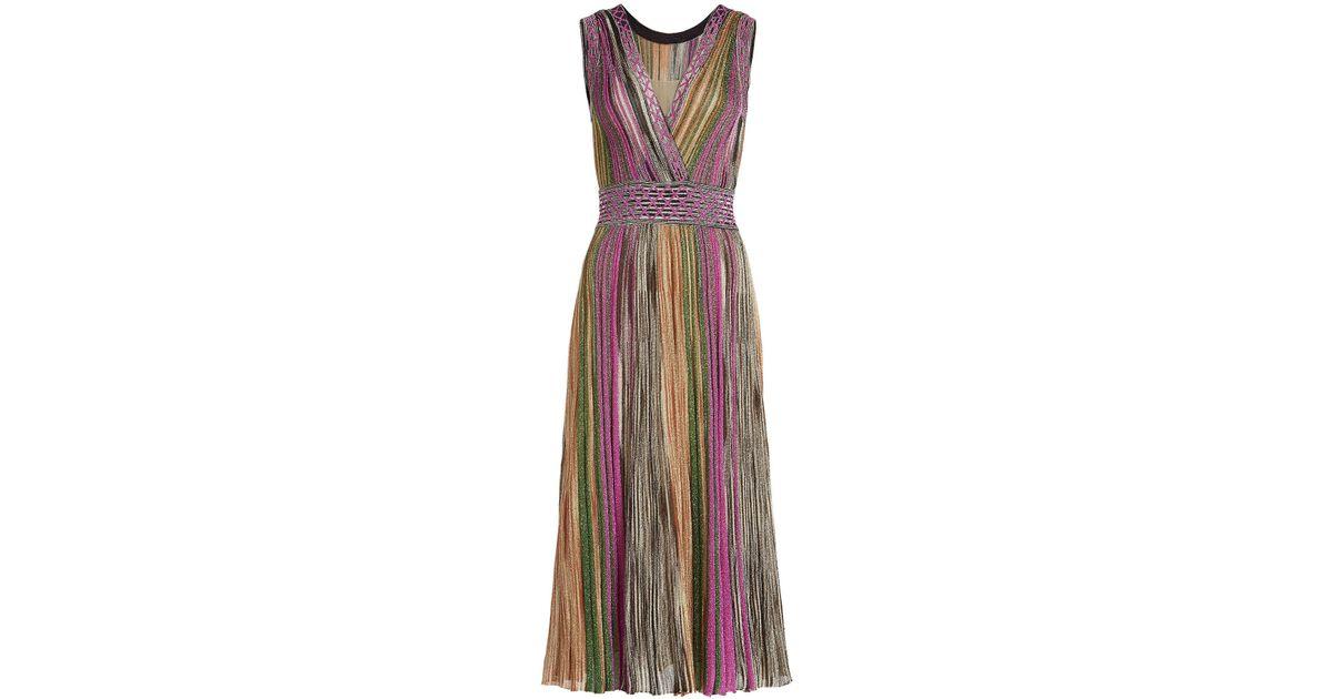 d1a7a6eb69382 Lyst - Missoni V-neck Dress With Metallic Thread