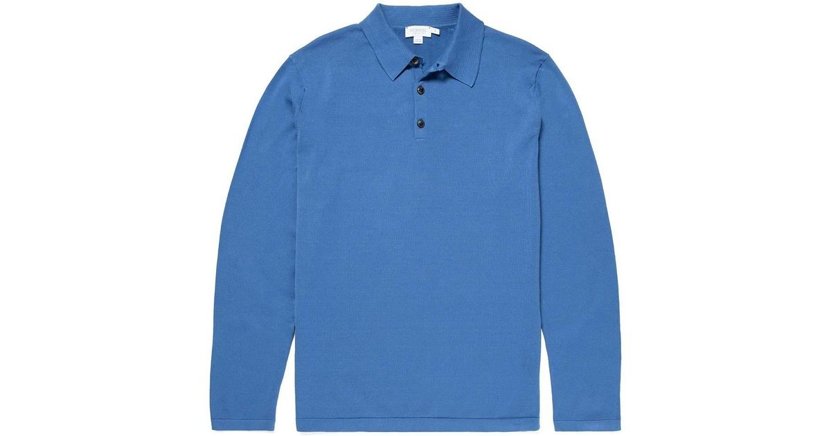 5c07d3a2 Sunspel - Blue Men's Sea Island Cotton Knit Long Sleeve Polo In Mid Indigo  for Men - Lyst