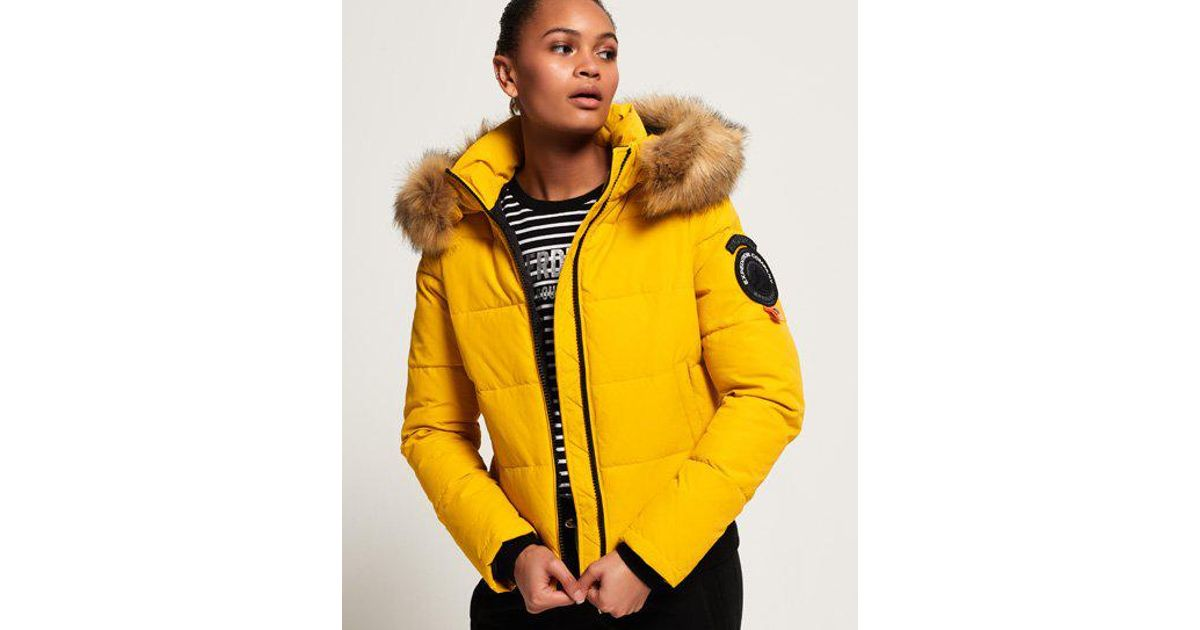 Lyst Superdry Everest Ella Bomber Jacket In Yellow