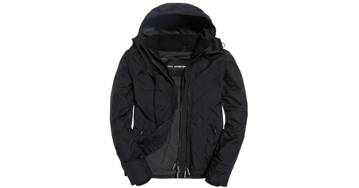 Lyst - Superdry Arctic Hooded Pop Zip Windchea Sports Jacket Black in Black  for Men 625f3a3488d