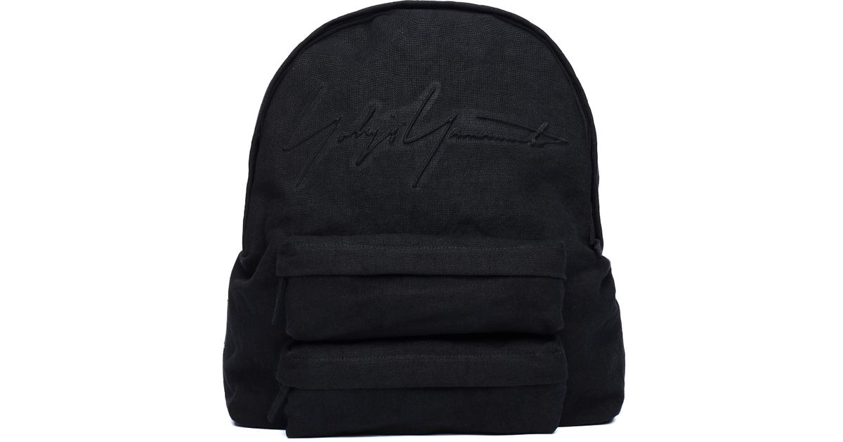 12d0bdb774 Lyst - Yohji Yamamoto Linen Logo Backpack in Black for Men