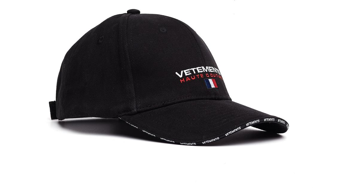Lyst - Vetements Embroidered Haute Couture Cap in Black for Men 478673d0534