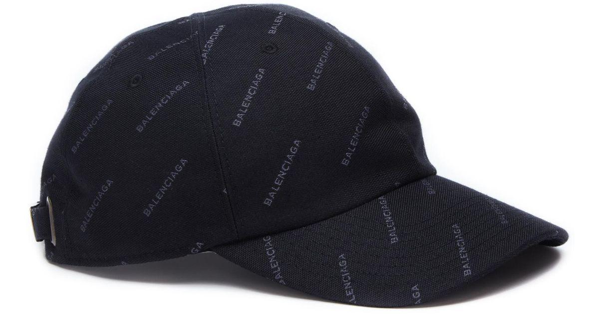 Lyst - Balenciaga Cotton Logo Print Cap in Black for Men a733a0f8d01