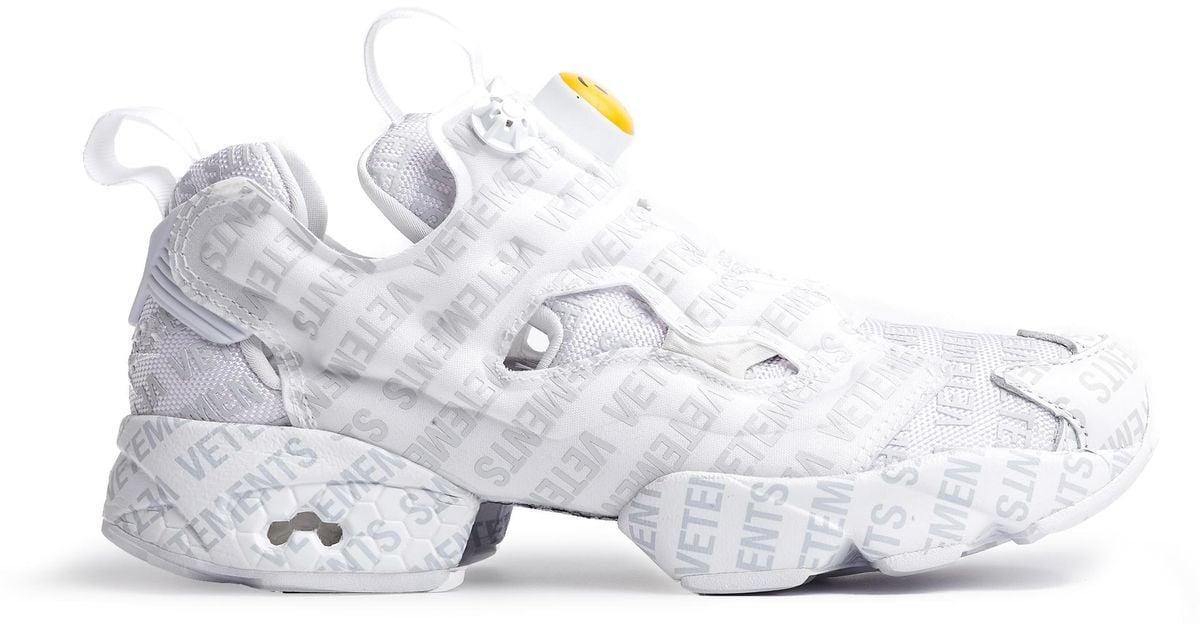... 100% quality Lyst - Vetements Reebok Logo Instapump Fury Sneakers in  White for Men ... 54a25b9eb