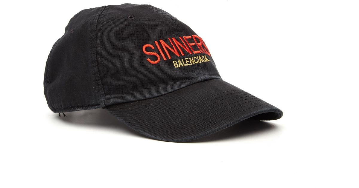 5d76132a1a0 Lyst - Balenciaga Sinners Embroidered Cap in Black for Men