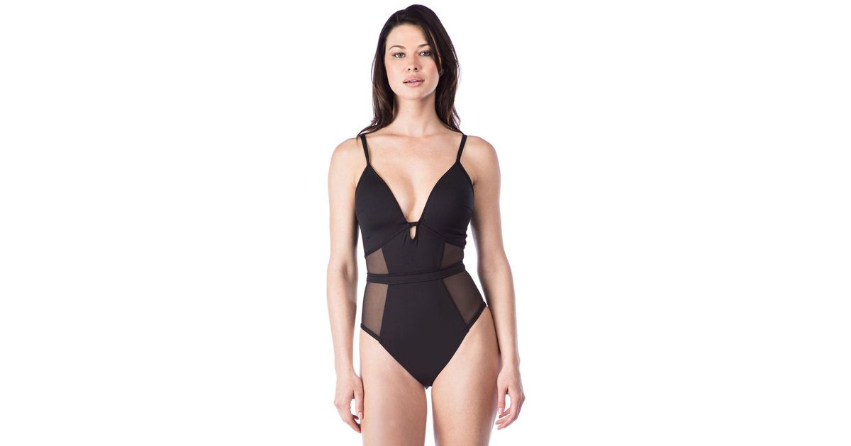 c0ad466d491 Lyst - Kenneth Cole Hall Of Fame Solid Push Up Mesh Mio One Piece Swimsuit  in Black