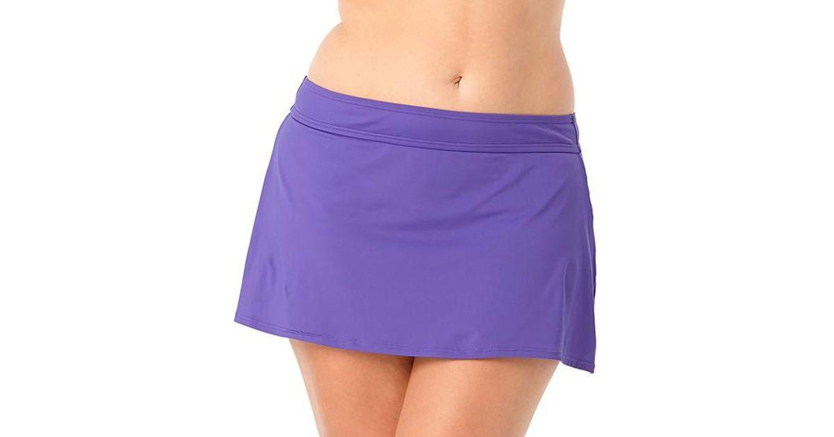 45edffb570391 Lyst - Anne Cole Size Color Blast Rock Classic Swim Skirt Bottom in Purple