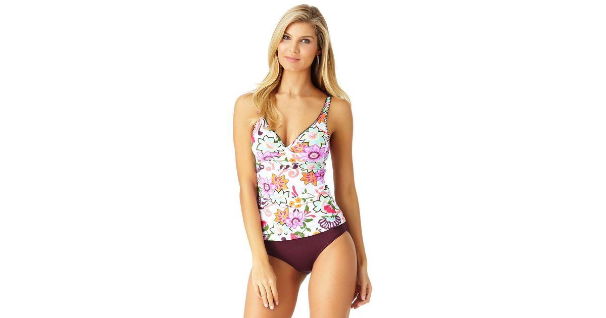 20753b49aa Anne Cole Fleetwood Floral Twist Front Shirred Tankini Swim Top - Lyst