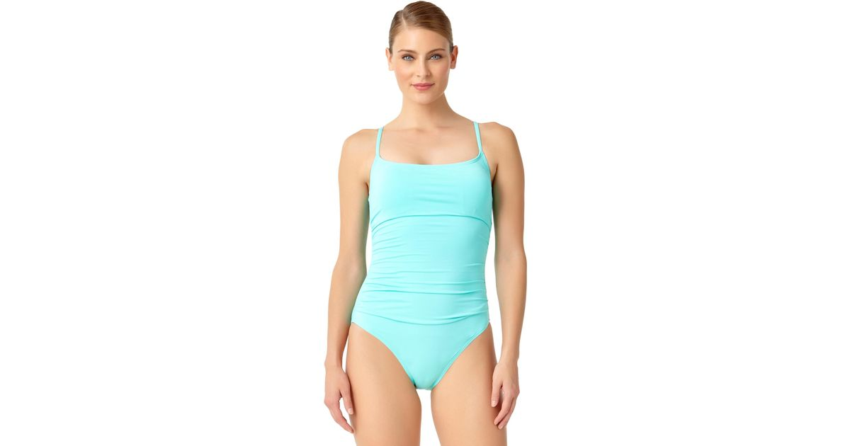 6e3a60ab588ab Anne Cole Live In Color Shirred Lingerie Maillot One Piece Swimsuit in Blue  - Lyst